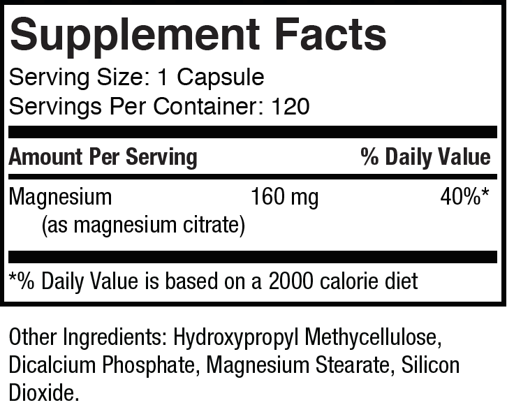 Magnesium Citrate Supplement Facts
